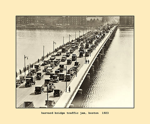 harvard bridge traffic jam, boston  1923