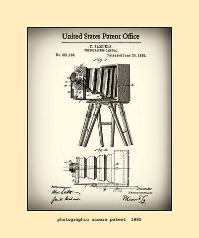 photographic camera patent  1885