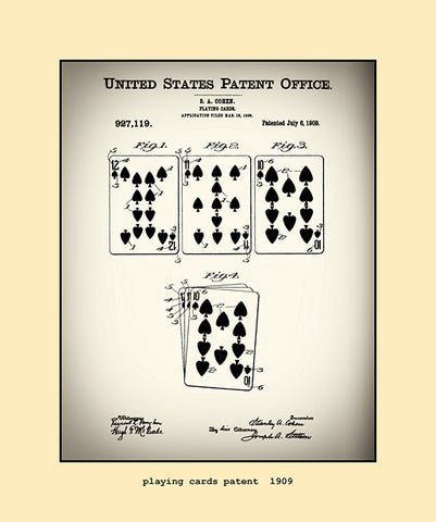 playing cards patent  1909
