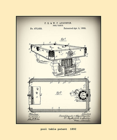 pool table patent  1892