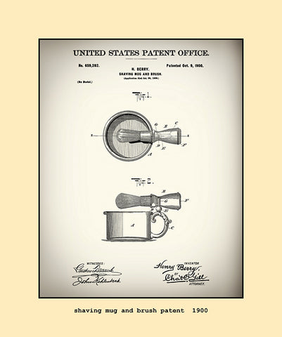 shaving mug and brush patent  1900