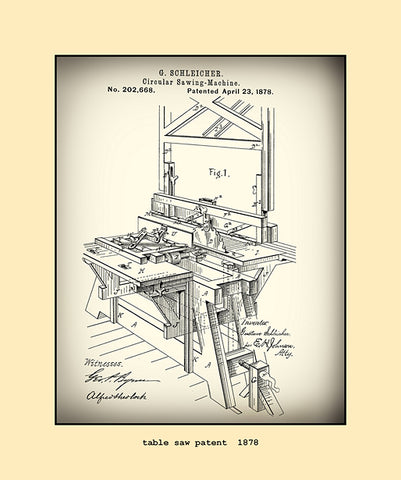 table saw patent  1878