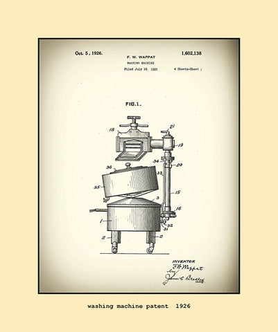 washing machine patent  1926