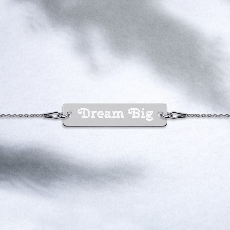 Dream Big Engraved Lifestyle Statement Inspiration Quote Silver Bar Chain Bracelet