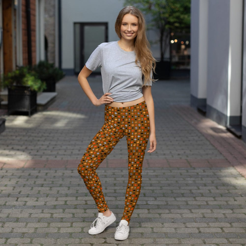 Elin Pattern Brown Minimalist Mid-century Modern Design Leggings