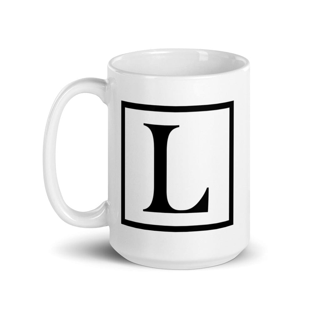 Letter L Border Monogram Coffee Tea Cup Mug