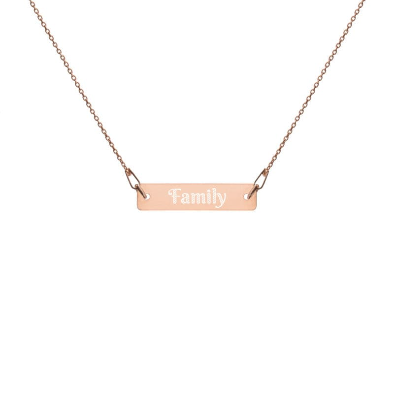 Family Engraved Lifestyle Statement Silver Bar Chain Necklace