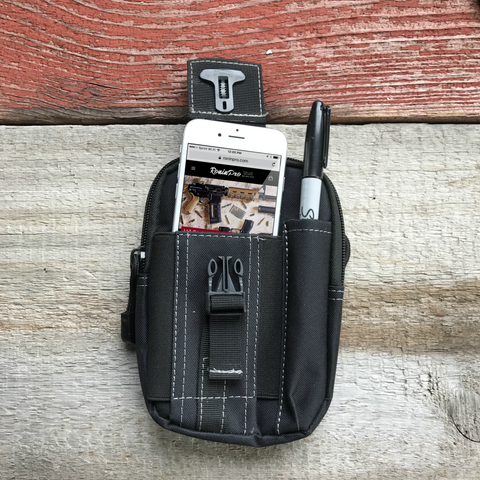 Pictured here is our Black Molle Utility Pouch showing iPhone and Pen secured.
