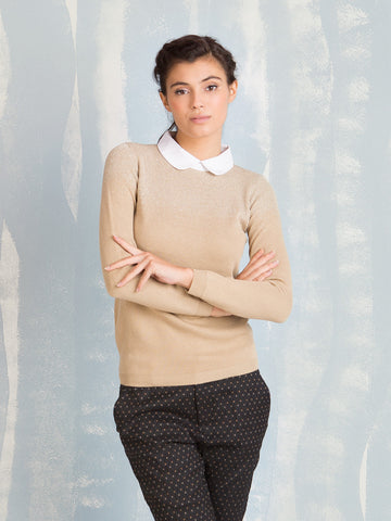 Deby Debo golden knit with petter pan collar DEBY DEBO- Here Now