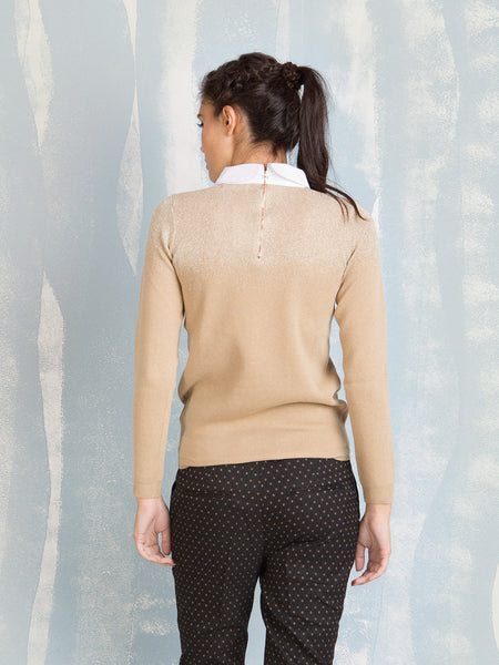 Knit Golden With Petter Pan Collar Deby Debo DEBY DEBO- Here Now