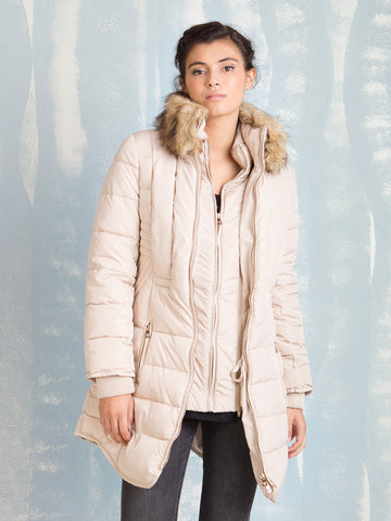 Fracomina Padded Cream Coat Fracomina- Here Now