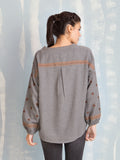 Blouse for Women Grey With Terracotta Details Deby Debo DEBY DEBO- Here Now
