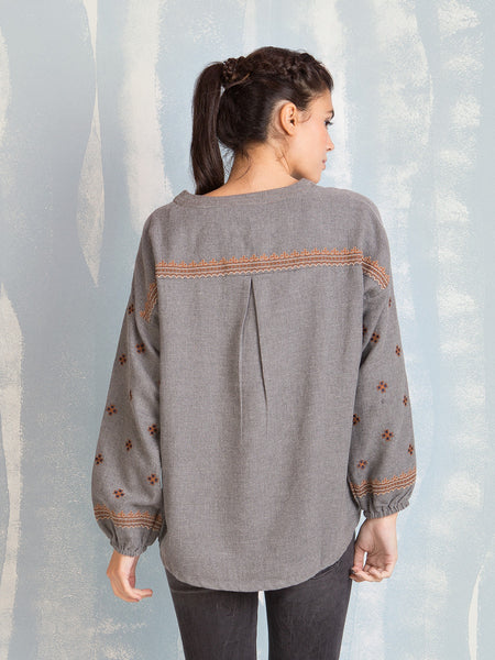 Blouses Grey With Terracotta Details Deby Debo DEBY DEBO- Here Now