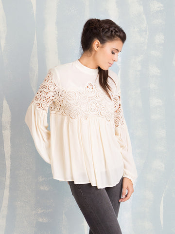Deby Debo white tunic with lace details DEBY DEBO- Here Now