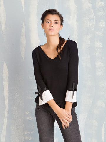 Knit Black with Pleated Sleeves Fracomina Online Store Fracomina- Here Now