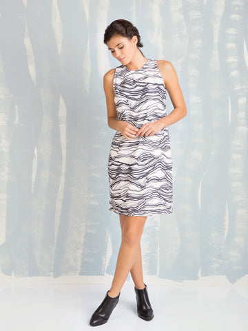 Dress Black and White Waves Coquelicot COQUELICOT- Here Now