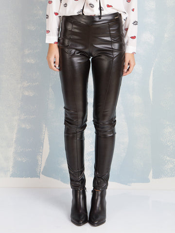 Pants Black Leather Coquelicot COQUELICOT- Here Now
