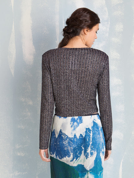 Ribed cropped top with long sleeves Knit Super Lurex COQUELICOT- Here Now