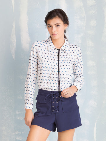 Women's Shorts Sale Blue shorts with ties on the front and side zipper Coquelicot COQUELICOT- Here Now