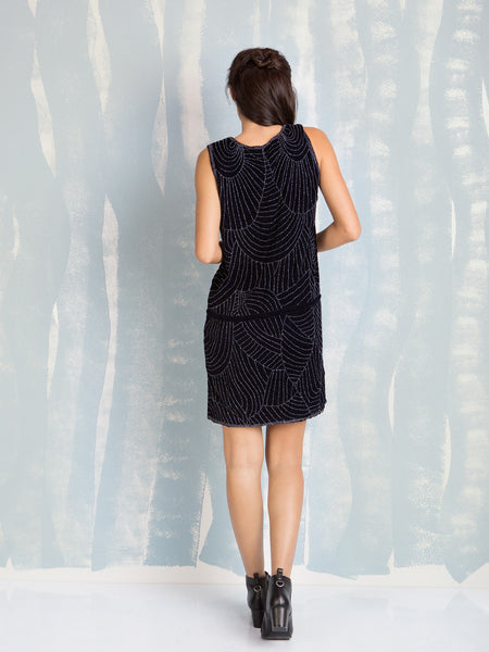 Dress Chic Blue Velvet with Sequins Deby Debo DEBY DEBO- Here Now