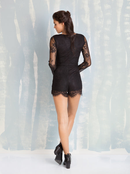 Black lace romper with back zipper Deby Debo DEBY DEBO- Here Now