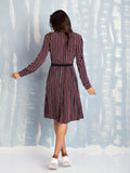Equipment SHIELDS SILK DRESS TRUE BLACK/BURNT SCARLET DECO STRIPE PRINT EQUIPMENT- Here Now