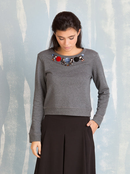 Grey Sweater with Appliqués Fracomina Fracomina- Here Now