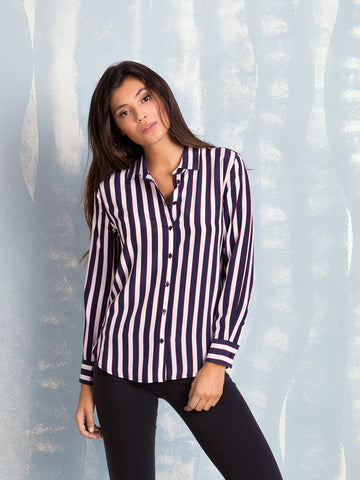 Equipment LEEMA SILK SHIRT BRIGHT WHITE/PEACOAT DECO STRIPE PRINT EQUIPMENT- Here Now