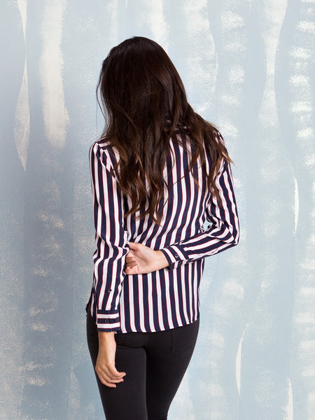 Equipment Shirts SALE Leema Silk Shirt Bright White/Peacoat Deco Stripe Print EQUIPMENT- Here Now