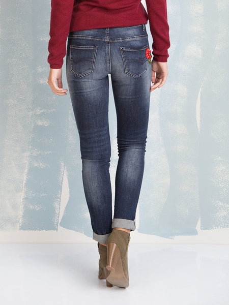 Jeans Hillary Skinny Pant Wrinkle with Floral Application Fracomina Online Store Fracomina- Here Now