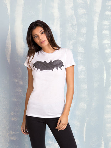 Zoe Karssen BAT LOOSE FIT TEE  in White Dark Blue T-Shirt Zoe Karssen- Here Now