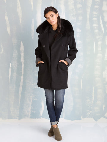 Fracomina black coat with black faux fur collar Fracomina- Here Now
