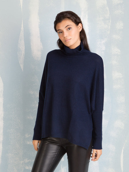 MISS CASHMERE Deep Blue Turtleneck Absolut Cashmere- Here Now