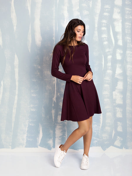 Dress Bordeaux Plum skater Here Now COQUELICOT- Here Now