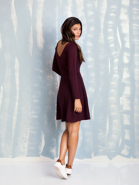 Plum skater dress Bordeaux Coquelicot COQUELICOT- Here Now