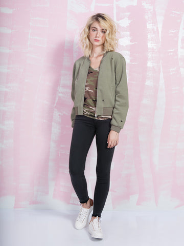 Zoe Karssen Homeboy Box Fit Bomber Jacket in Khaki Zoe Karssen- Here Now