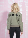 Zoe Karssen Sale Bomber Jacket Homeboy Box Fit in Khaki Zoe Karssen- Here Now