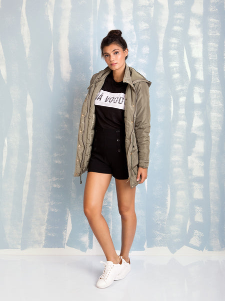 Green Parka womens Coquelicot COQUELICOT- Here Now