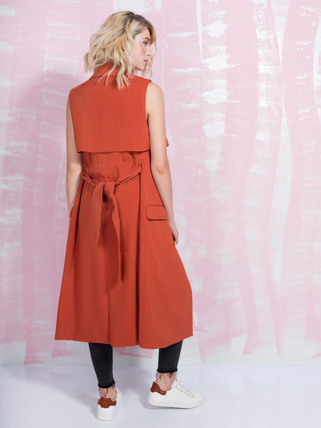 LAVISH ALICE SALE Terracotta Sleeveless Trench Coat Women LAVISH ALICE- Here Now