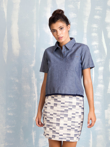 Denim polo with short sleeves and square pocket on front for women COQUELICOT- Here Now