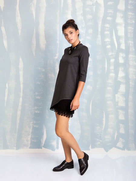 Dress Grey with lace detail Fracomina Online Store Fracomina- Here Now