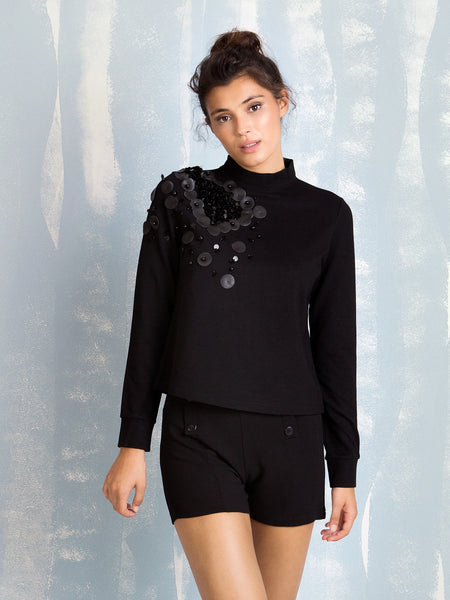 Black Sweater With Embellishments Fracomina Fracomina- Here Now