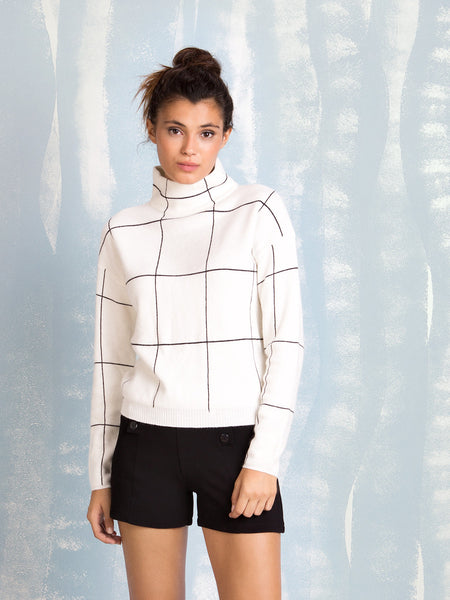 White Turtleneck With Black Squares Fracomina Online Store Fracomina- Here Now
