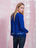 Dancing with Fringe Blue Jacket Women Coquelicot COQUELICOT- Here Now