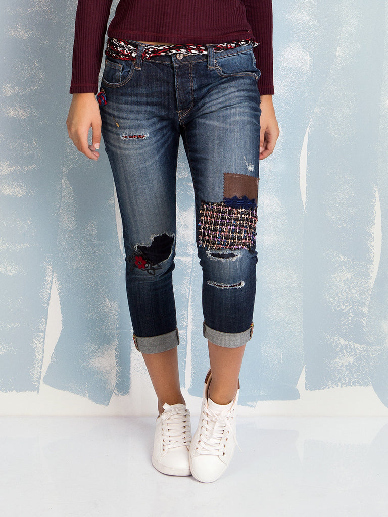 Here Capri Boyfriend Jeans Fracomina With Patches Now lKc1uJ3FT