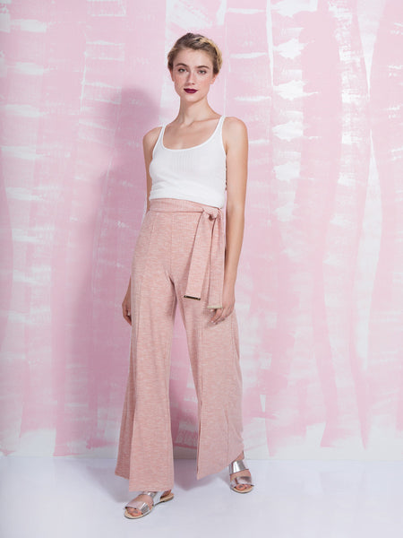 LAVISH ALICE Nude Rib Jersey Metal Trim Tie Detail Wide Leg Trousers LAVISH ALICE- Here Now
