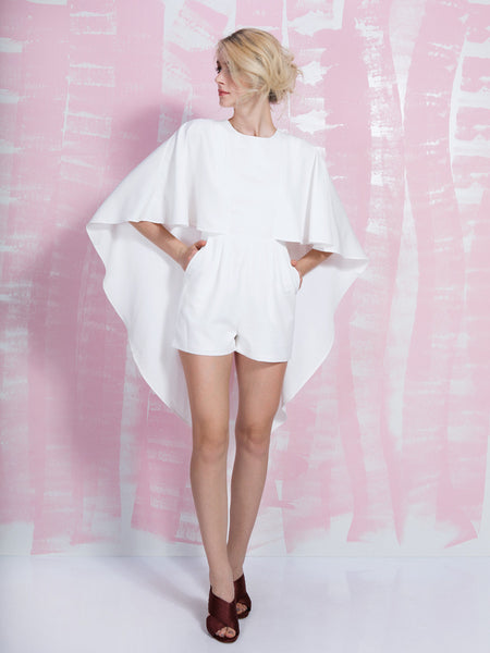 LAVISH ALICE SALE Off White Open Tie Back Cape Playsuit LAVISH ALICE- Here Now