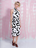 Lavish Alice Monochrome Abstract Print Halter Neck Midi Dress 50% OFF LAVISH ALICE- Here Now