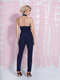 LAVISH ALICE SALE Navy Keyhole High Neck Deep Plunge Jumpsuit LAVISH ALICE- Here Now