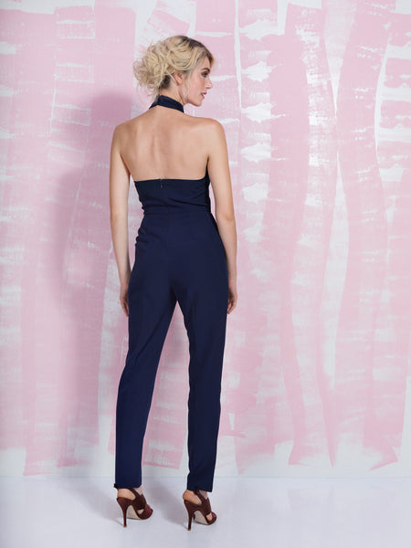 LAVISH ALICE Navy Keyhole High Neck Deep Plunge Jumpsuit LAVISH ALICE- Here Now